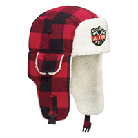 Polyester / Wool with Berber Fleece Earflaps~Winter Bomber Hat with Earflaps (Lumberjack)
